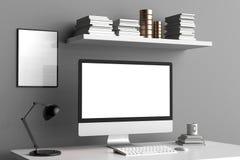 Modern workspace, datorskärm och ramåtlöje upp 3d stock illustrationer