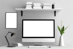 Modern workspace, datorskärm och ramåtlöje upp 3d vektor illustrationer
