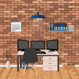 Modern workspace design in hipster style with three monitors laptop. Home workplace interior in living room. Royalty Free Stock Photo