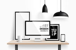 Modern workspace design. Vector Royalty Free Stock Photography