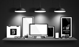 Modern workspace design. Vector Stock Photo