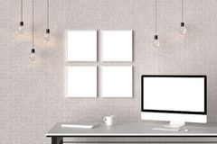 Modern workspace with isolated empty frames on brick wall and is. Olated computer screen. 3D illustrating Stock Photo