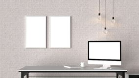 Modern workspace with isolated empty frames on brick wall and is Royalty Free Stock Images