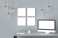 Modern workspace with isolated empty frames on brick wall and is. Olated computer screen. 3D illustrating Royalty Free Stock Photos