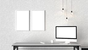 Modern workspace with isolated empty frames on brick wall and is. Olated computer screen. 3D illustrating Stock Images