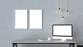 Modern workspace with isolated empty frames on brick wall and is. Olated computer screen. 3D illustrating Stock Photos