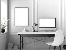 Modern workspace, isolerad datorskärm och ramåtlöje upp 3d royaltyfri illustrationer
