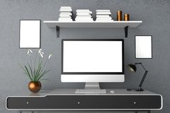 Modern workspace, isolerad datorskärm och ramåtlöje upp 3d vektor illustrationer