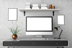 Modern workspace, isolerad datorskärm och ramåtlöje upp 3d stock illustrationer