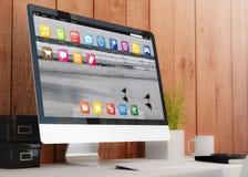 Modern workspace med datoren royaltyfri illustrationer