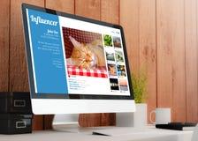 Modern workspace med datorinfluencermarknadsföring stock illustrationer