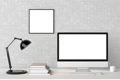 Modern workspace med den isolerade tomma ramen på tegelstenväggen och iso royaltyfri illustrationer