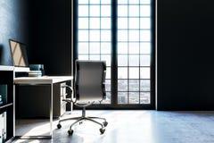 Modern workspace med den svarta väggen royaltyfri illustrationer