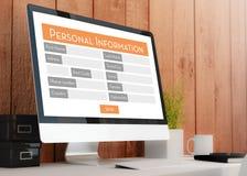 modern workspace med formen för personlig information royaltyfri illustrationer