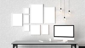 Modern workspace med isolerade tomma ramar på tegelstenväggen och är vektor illustrationer