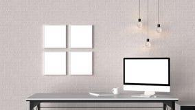 Modern workspace med isolerade tomma ramar på tegelstenväggen och är royaltyfri illustrationer