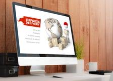 Modern workspace med websiten för elivery för datorvisning den uttryckliga Royaltyfri Bild