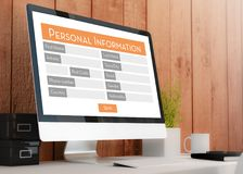 Modern workspace with personal information Form. Modern wooden workspace with Royalty Free Stock Images