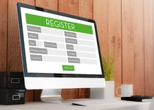 Modern workspace with Registration Form. Modern wooden workspace with Royalty Free Stock Image