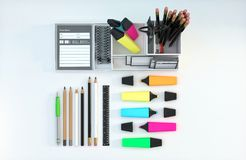 Modern workspace with stationery set on white color background. Top view. Flat lay. 3D illustration. Modern workspace with stationery set on white color Royalty Free Stock Photos