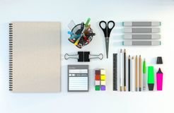 Modern workspace with stationery set on white color background. Top view. Flat lay. 3D illustration. Modern workspace with stationery set on white color Royalty Free Stock Images