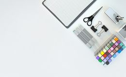 Modern workspace with stationery set on white color background. Top view. Flat lay. 3D illustration. Modern workspace with stationery set on white color Stock Images