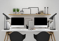 Modern workspace for two template, mock up background Royalty Free Stock Images