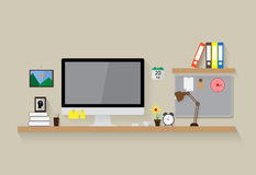 Modern workspace vector design. Background Royalty Free Stock Photo