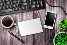 Modern workspace vector set with stationery. On wooden background. Vector vector illustration