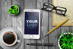 Modern workspace vector set with stationery. On wooden background. Vector stock illustration