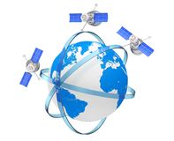 Modern World Global Navigation Satelite in Eccentric Orbits arou. Nd the Earth Globe on a white background. 3d Rendering Royalty Free Stock Photos