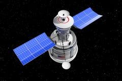 Modern World Global Navigation Satelite. 3d Rendering. Modern World Global Navigation Satelite on a Star Sky Space background. 3d Rendering stock illustration