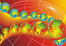 Modern World Globes. Abstract background, world globes placed on orange curve Royalty Free Stock Photo