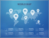 Modern world map with pins graphic design. Vector infographic vector illustration