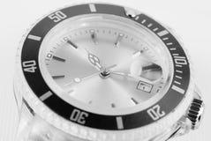 Modern wristwatch. Modern black and white wristwatch Royalty Free Stock Photos