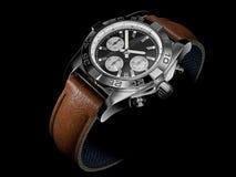 Modern Wristwatch on black Stock Photos