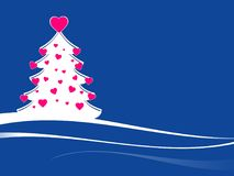 Christmas tree with pink hearts. Modern xmas tree with pink hearts. xmas tree against a blue background and white ribbon Royalty Free Stock Images