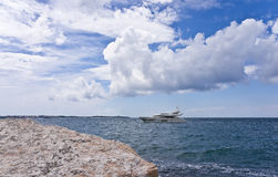 Modern yacht is in Adriatic sea Royalty Free Stock Photography