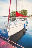 Modern yacht in the bay Stock Photos
