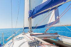 Modern Yacht main sail and deck Stock Images