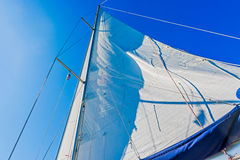 Modern Yacht main sail. Royalty Free Stock Photography