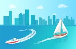 Modern yacht Marine Nautical Personal Ship Icon vektor illustrationer