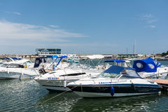 Modern Yachts And Boats. CONSTANTA, ROMANIA - JULY 30, 2014: Modern Yachts And Boats In Constanta Port At The Black Sea stock image