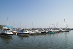 Modern yachts and boats in Touristic Tomis Port, Constanta Royalty Free Stock Image