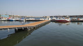Modern yachts and boats in Touristic Tomis Port, Constanta Royalty Free Stock Photography
