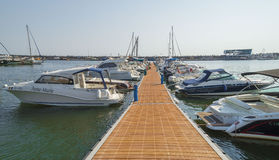 Modern yachts and boats in Touristic Tomis Port, Constanta Stock Photos