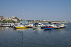 Modern yachts and boats in Touristic Tomis Port, Constanta Stock Photo