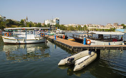 Modern yachts and boats in Touristic Tomis Port, Constanta Royalty Free Stock Images