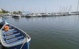 Modern yachts and boats in Touristic Tomis Port, Constanta Royalty Free Stock Photos