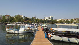 Modern yachts and boats in Touristic Tomis Port, Constanta Stock Image